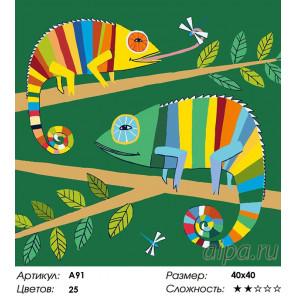 Количество цветов и сложность Хамелеоны Раскраска картина по номерам на холсте A91