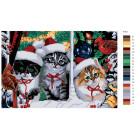 Раскладка Рождественские котята Раскраска картина по номерам на холсте A113