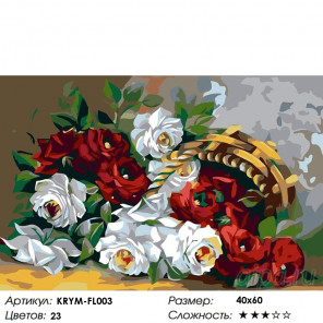 Количество цветов и сложность Корзинка с розами Раскраска картина по номерам на холсте KRYM-FL003
