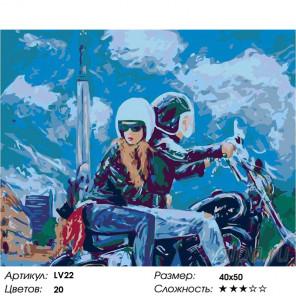 Количество цветов и сложность Пара на мотоцикле Раскраска картина по номерам на холсте LV22