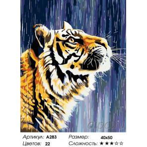 Количество цветов и сложность Тигр под дождем Раскраска картина по номерам на холсте A283