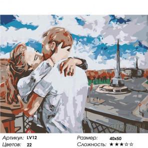 Количество цветов и сложность Поцелуй Раскраска картина по номерам на холсте LV12