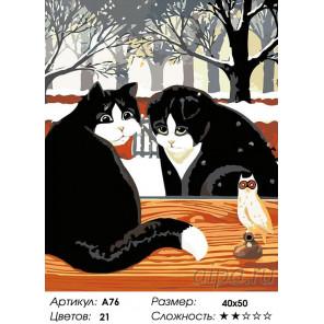 Количество цветов и сложность Кошки у окошка Раскраска картина по номерам на холсте A76