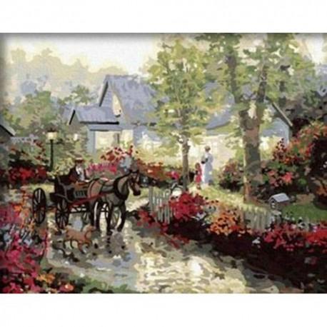деревенский пейзаж раскраска по номерам на холсте Menglei M A088