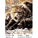 Количество цветов и сложность Семья медведей Раскраска картина по номерам на холсте A68