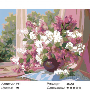 Количество цветов и сложность Сирень на окне Раскраска картина по номерам на холсте F11