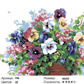 Количество цветов и сложность Анютины глазки Раскраска картина по номерам на холсте F06