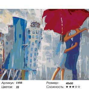 Количество цветов и сложность Поцелуй под зонтом Раскраска картина по номерам на холсте LV05