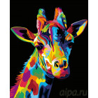 Радужный жираф Раскраска картина по номерам на холсте PA12