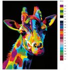 Раскладка Радужный жираф Раскраска картина по номерам на холсте PA12