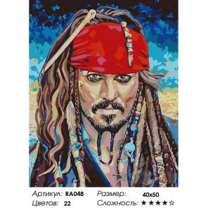 Джек Воробей Раскраска картина по номерам на холсте RA048