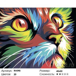 Количество цветов и сложность Радужный кот Раскраска картина по номерам на холсте RA046