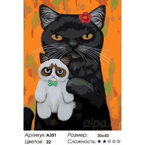 Любимая игрушка-кошечка Раскраска картина по номерам на холсте A351