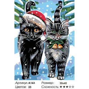 Количество цветов и сложность Рождественские котики Раскраска картина по номерам на холсте A163
