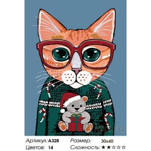 В рождественском свитере Раскраска картина по номерам на холсте A328
