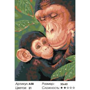 Количество цветов и сложность Семейство обезьян Раскраска картина по номерам на холсте A58