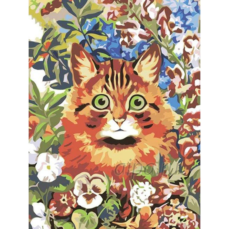RA009 Котик в саду Раскраска картина по номерам на холсте ...