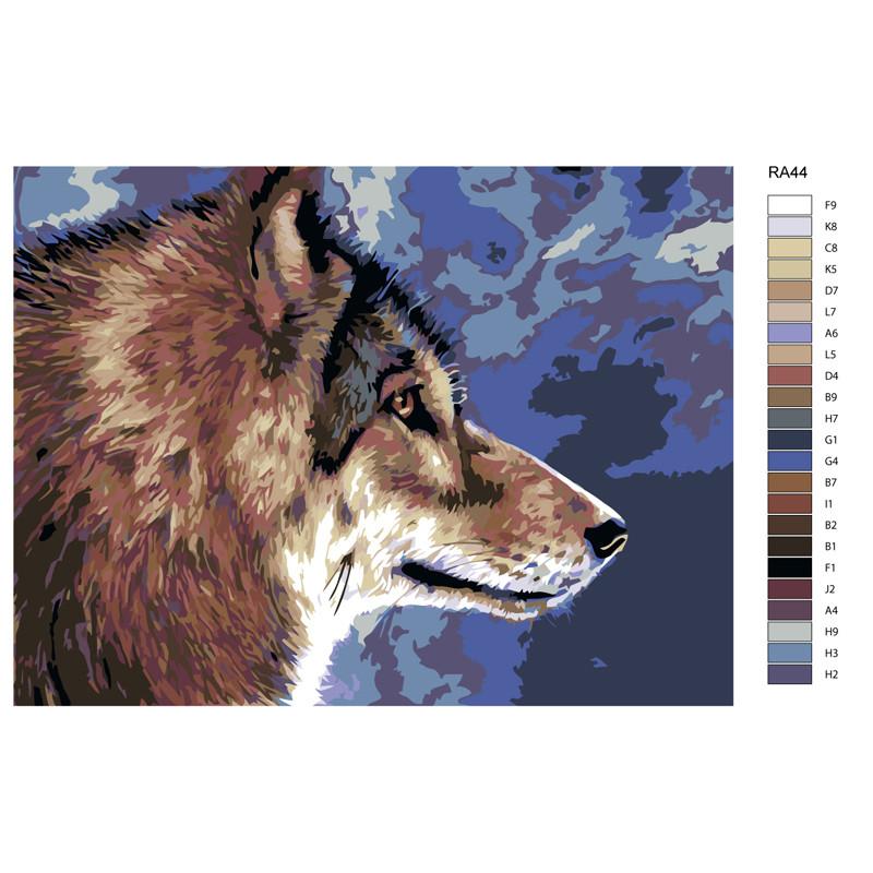 RA44 Волк Раскраска картина по номерам на холсте 30х40см ...