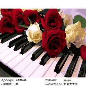 Сложность и количество красок Цветы и музыка Раскраска картина по номерам на холсте GX24565