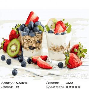 Сложность и количество красок Мюсли с йогуртом Раскраска картина по номерам на холсте GX25019