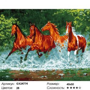 Сложность и количество красок Скакуны и брызги Раскраска картина по номерам на холсте GX24774