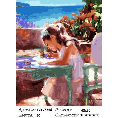 Количество цветов и сложность Рисунок девочки Раскраска картина по номерам на холсте GX25754
