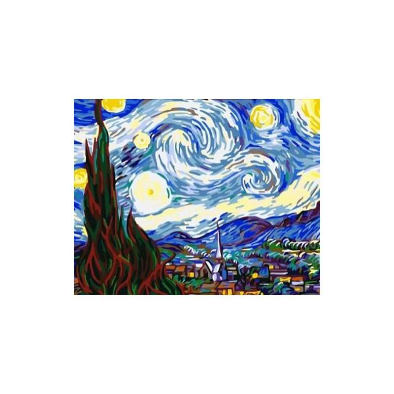 Звездная ночь Ван Гог Раскраска по номерам на холсте ...