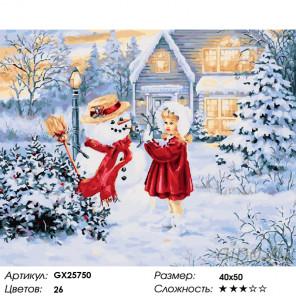 Первый снеговик Раскраска картина по номерам на холсте GX25750