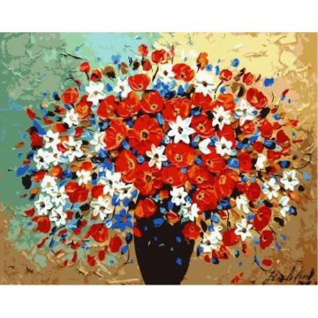 Цветы в вазе Раскраска по номерам на холсте Iteso IT-A178 ...