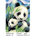 Количество цветов и сложность Панда с детёнышем Раскраска по номерам акриловыми красками на холсте Живопись по номерам