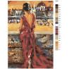 Схема Девушка в красном платье Раскраска по номерам на холсте Живопись по номерам