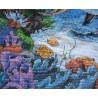 Фрагмент вышитой работы Семья дельфинов 03830 Набор для вышивания Dimensions ( Дименшенс )