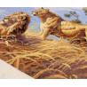 Фрагмент вышитой работы Африканские львы 03866 Набор для вышивания Dimensions ( Дименшенс )