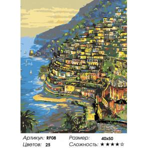 1 Огни Positano, Италия (художник Robert Finale) Раскраска по номерам на холсте Живопись по номерам