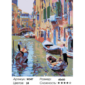 1 Романтическая Венеция (художник Говард Беренс) Раскраска по номерам на холсте Живопись по номерам