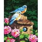 Синие птички Раскраска по номерам акриловыми красками на холсте Iteso