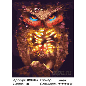 Количество цветов и сложность Светящаяся сова Раскраска картина по номерам на холсте GX25166