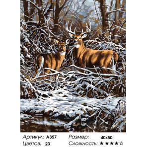 Олени зимой Раскраска по номерам на холсте Живопись по номерам A357