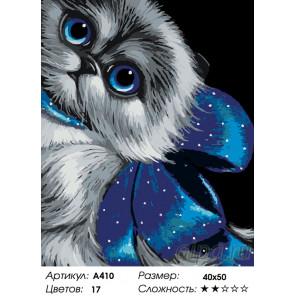 Количество цветов и сложность Кошка с голубым бантом Раскраска по номерам на холсте Живопись по номерам A410