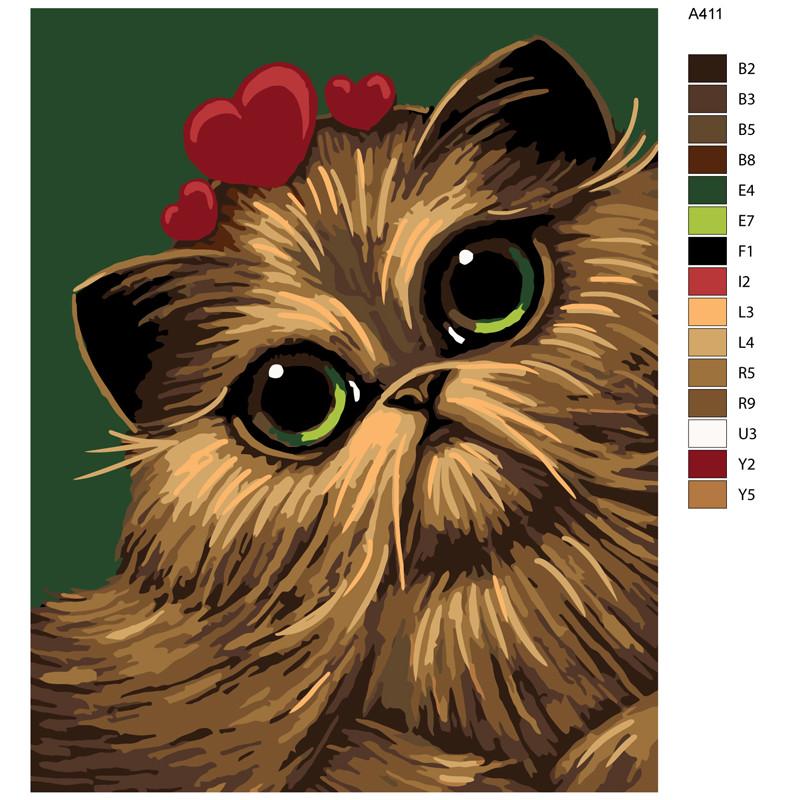 A411 Кошка в сердцах Раскраска по номерам на холсте ...