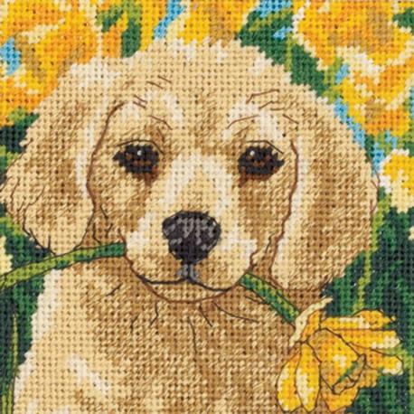 Щенок с цветком 07231 Набор для вышивания Dimensions ( Дименшенс )