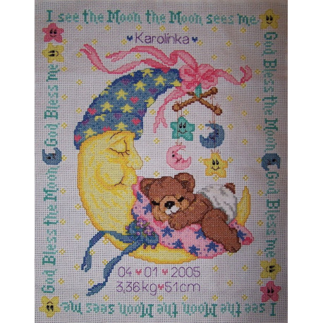 Луна и я, запись о рождении Набор для вышивания Счетный крест Bucilla