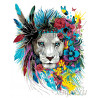 Цветочный лев Раскраска по номерам на холсте Живопись по номерам PA105