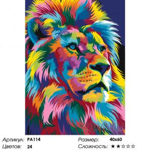 Радужный портрет льва Раскраска по номерам на холсте Живопись по номерам PA114