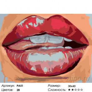 Количество цветов и сложность Нежные губы Раскраска по номерам на холсте Живопись по номерам PA51