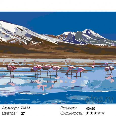 Z3135 Фламинго на озере Раскраска по номерам на холсте ...