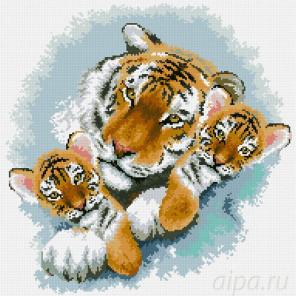 Коробка Тигриная семейка Алмазная мозаика вышивка Паутинка М-364