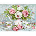 Розовый чай Алмазная мозаика вышивка Паутинка М-258