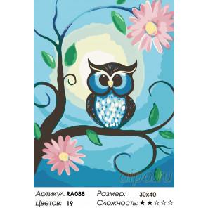 Количество цветов и сложность Сова на цветущей ветке Раскраска по номерам на холсте Живопись по номерам RA088