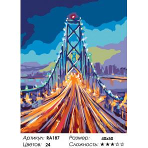 Количество цветов и сложность Огни ночного моста Раскраска по номерам на холсте Живопись по номерам RA187